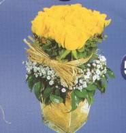Elazığ çiçekçi mağazası  Cam vazoda 9 Sari gül