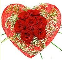 Mika kalp içerisinde 7 adet kırmızı gül  Elazığ online çiçekçi , çiçek siparişi