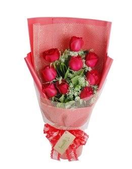 9 adet kırmızı gülden görsel buket  Elazığ güvenli kaliteli hızlı çiçek