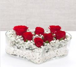 kalp içerisinde 7 adet kırmızı gül  Elazığ çiçek gönderme