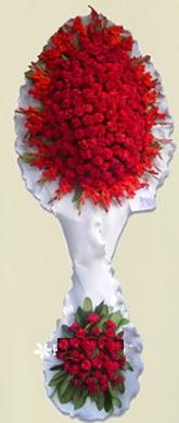 Çift katlı kıpkırmızı düğün açılış çiçeği  Elazığ çiçekçi mağazası