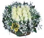 Elazığ çiçek gönderme sitemiz güvenlidir  Beyaz harika bir gül sepeti