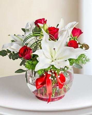 Fanus Vazoda 2 Lilyum ve 5 Gül Dansı  Elazığ çiçek online çiçek siparişi