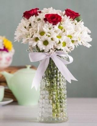 Papatya Ve Güllerin Uyumu camda  Elazığ anneler günü çiçek yolla
