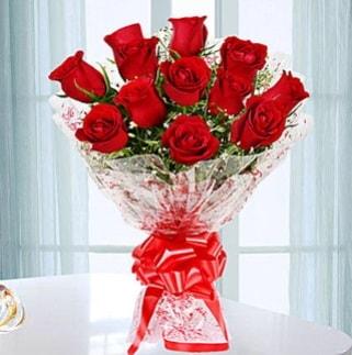 11 adet kırmızı gülden görsel şık buket  Elazığ güvenli kaliteli hızlı çiçek