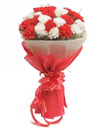 21 adet kırmızı beyaz karanfil buketi  Elazığ çiçek mağazası , çiçekçi adresleri