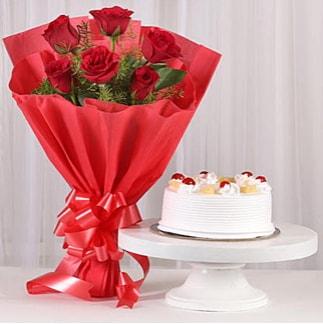 6 Kırmızı gül ve 4 kişilik yaş pasta  Elazığ kaliteli taze ve ucuz çiçekler