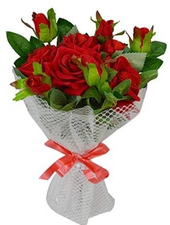 9 adet kırmızı gülden sade şık buket  Elazığ çiçek servisi , çiçekçi adresleri