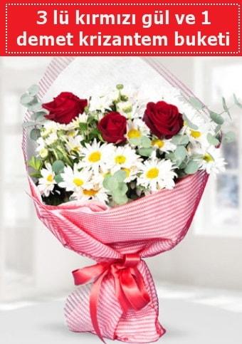 3 adet kırmızı gül ve krizantem buketi  Elazığ anneler günü çiçek yolla