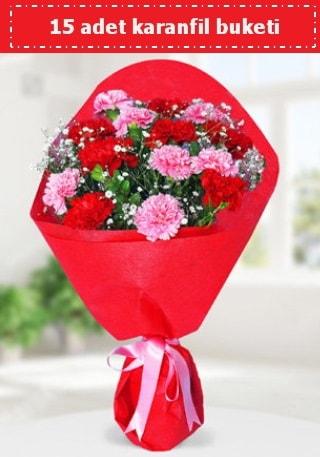 15 adet karanfilden hazırlanmış buket  Elazığ çiçek , çiçekçi , çiçekçilik