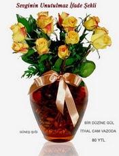 Elazığ İnternetten çiçek siparişi  mika yada Cam vazoda 12 adet sari gül